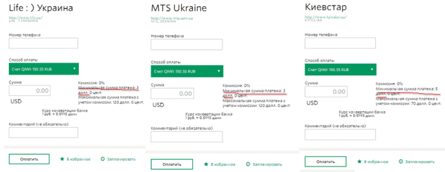 Оплата мобильного Украины